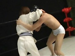 Mistress Wins Wrestling Match Against A Masked Slave