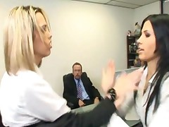 Catfight Turns To Secretary Office Threesome