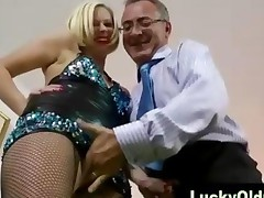 Lucky Old Guy Plays With Blonde In Fishnets