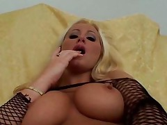 Pov - Blonde In Fishnets Anal Sex