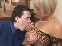 Huge Boobs In Fishnet Top