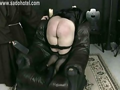 Naughty Nun Kneeling On A Chair With Her Dress Up And Panties..