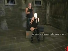 Leather Tied Sex Slave Gets Spanking Before Getting Fucked..