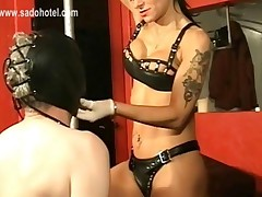 Horny Mistress Wearing Leather Bra And Thong Spanks Dirty..