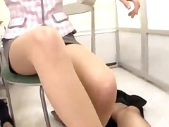 Office Lady In Pantyhose Giving Footjob While Sitting On..