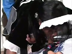Big boobed black maid gets holes filled