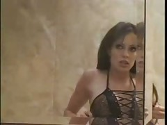 Beauty slips from bathtub and puts on lingerie