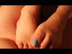 My young gf giving me a footjob