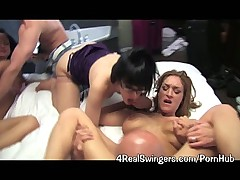 Couples Share Woman in Group Sex