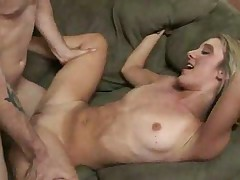 Blonde girl with sexy tattoo having sex