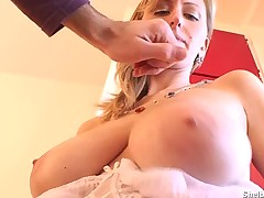 Busty blonde gets her big melons squeezed