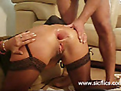 Extremely brutal anal fisting and wine bottle fucked ho