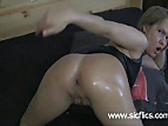 Horny amateur fist fucking herself in her asshole