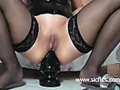 Bizarre giant anal butt plug fucking amateur whore
