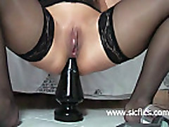 Bizarre giant anal butt plug fucking amateur whore