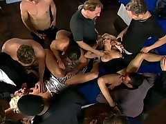 Classy dinner party gangbang orgy