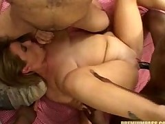 Busty Lisa Sparxxx gets banged by four black males