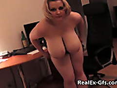 Chubby Big Boobed Blonde EX Makes Home Video