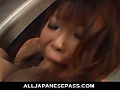 Japanese mistress sucks her boytoys off