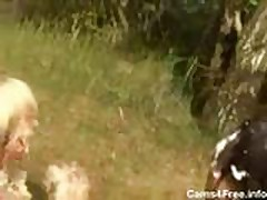 Homemade Amateur Teen Threesome in the Woods!