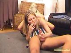 Smoking Fetish - A blonde woman is giving a HJ while sm
