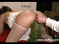 15 carrots stuffed in her gigantic gaping vagina