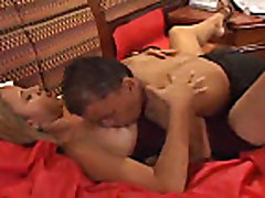 Hot Blonde fucks a Midget