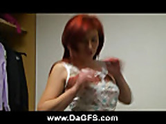 Redhead Felicia have fun stripping and take a shower