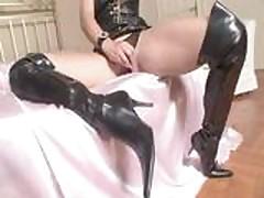 Zafira in black high hells boots
