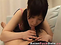 Asian Miku Tsukika blows and swallows