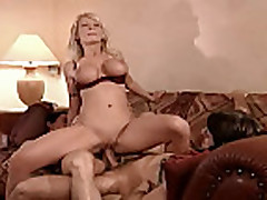 Blonde milf loves 2 cocks in her