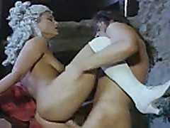 Vintage clip with blonde girl loving some dp