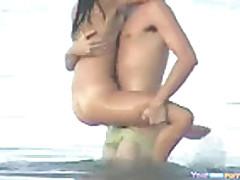 Crazy Couple Fucks In The Sea