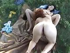 Two amateur lesbians outdoor fucking guy