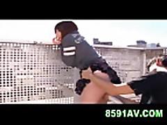Mosaic: busty girl gives exposed titsjob and blowjob