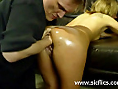 Blond slut fist fucked from behind by her dominant mast