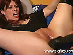 Gigantic dildo fucking slut has her cunt obliterated