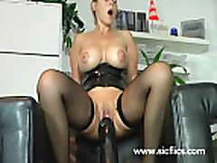 Amateur whore fucking a gigantic vegetable and monster