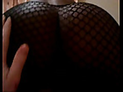 Hot ebony in fishnets