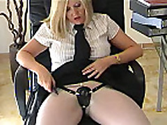 English Secretary Dom Mistress In White Pantyhose Weari