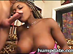 Busty black Coco Pink smokes white pole