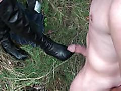 Mistress kicks a penis