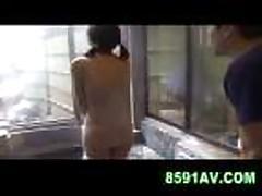 Mosaic- cute teen gives man blowjob in public bathhous