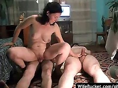 Amateur wife takes turns on cocks