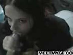 Cute girlfriend sucks dick in the car