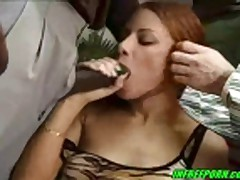 Brunette Milf Fucking Two Big Cocks