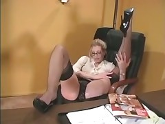 Blonde office babe in stockings loves to tease