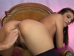 Brunette sucks big cock and gets fisted