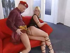 Big titty blonde bimbo in leather fucked hard