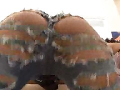 Bubble butt duo in ripped jeans smother man